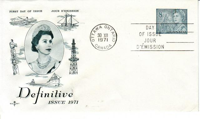 1967 - Rose Craft - Gray Queen - 8c Post Envelope