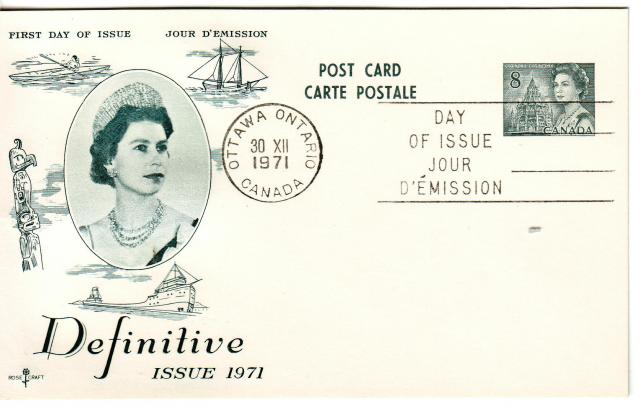 1967 - Rose Craft - Gray Queen - 8c Post Card