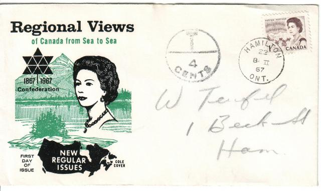 1967 - Cole - Queen with  Green - 1c - Postage Due