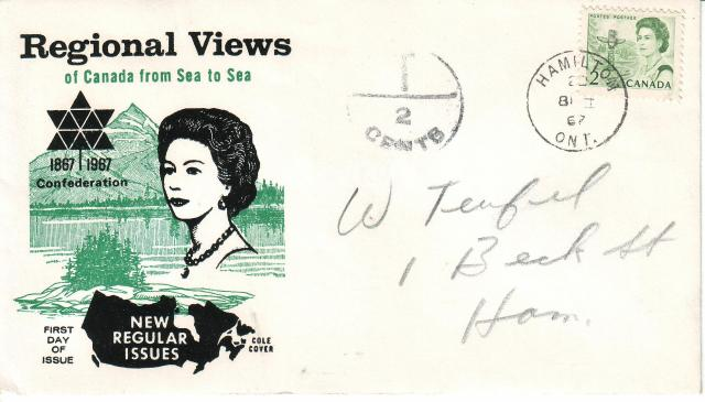 1967 - Cole - Queen with  Green - 2c - Postage Due