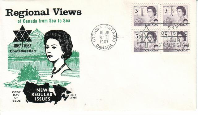 1967 - Cole - Queen with  Green - 3c x4