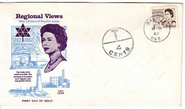 1967 - Cole - Queen with Blue - 1c Postage Due