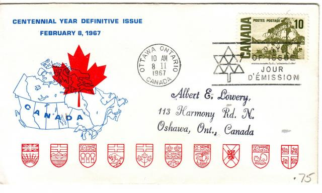 1967 - Personal - Blue with Red Leaf - 10c