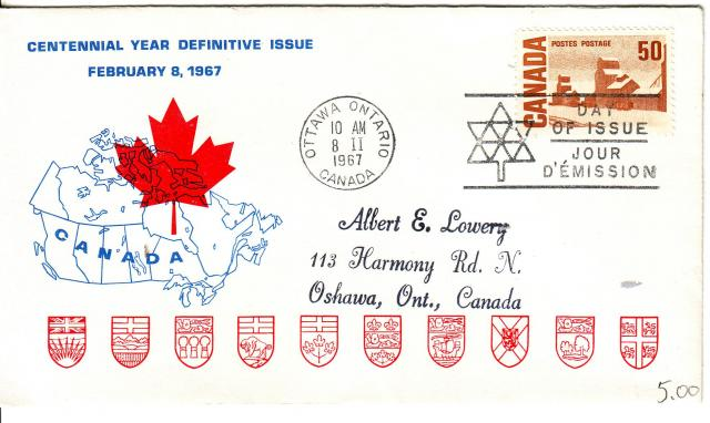 1967 - Personal - Blue with Red Leaf - 50c