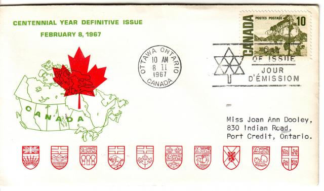 1967 - Personal - Green with Red Leaf - 10c