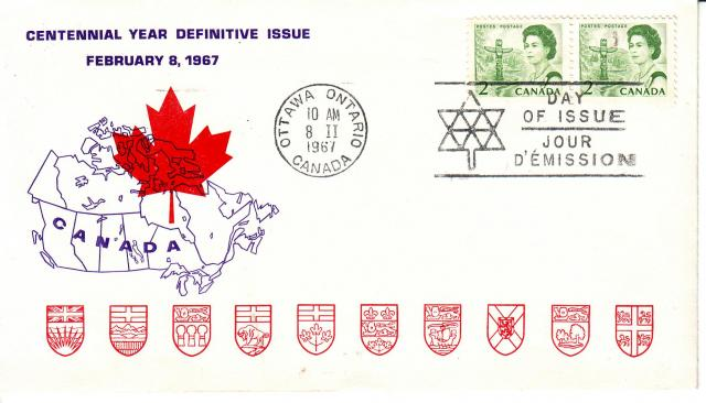 1967 - Personal - Purple with Red Leaf - 2c x2