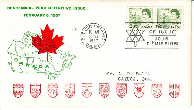 1967 - Personal - Green with Red Leaf - 2c x2