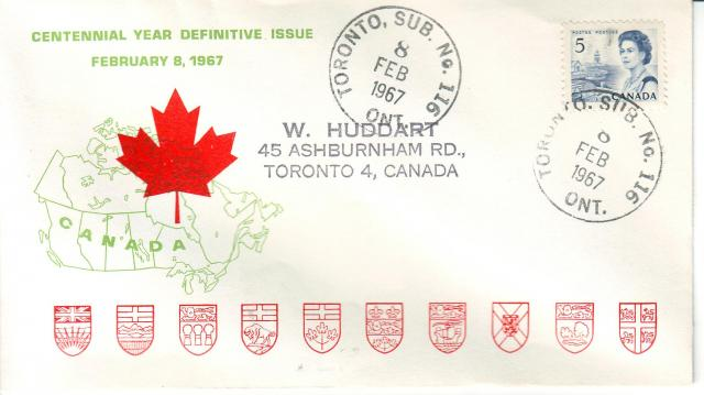 1967 - Personal - Green with Red Leaf - 5c