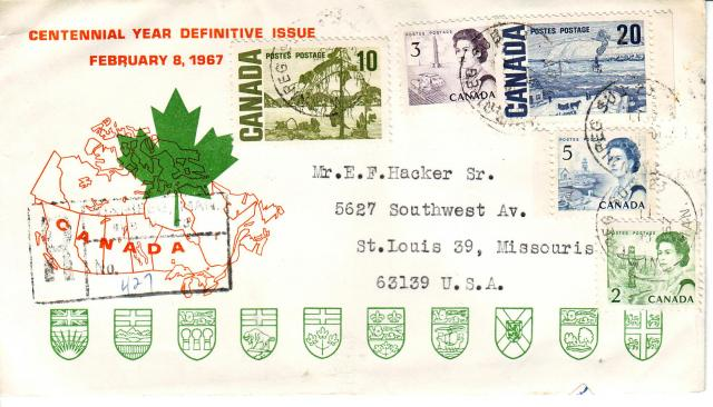 1967 - Personal - Orange with Green Leaf - Comb - 10,3,20,5,2. Registered