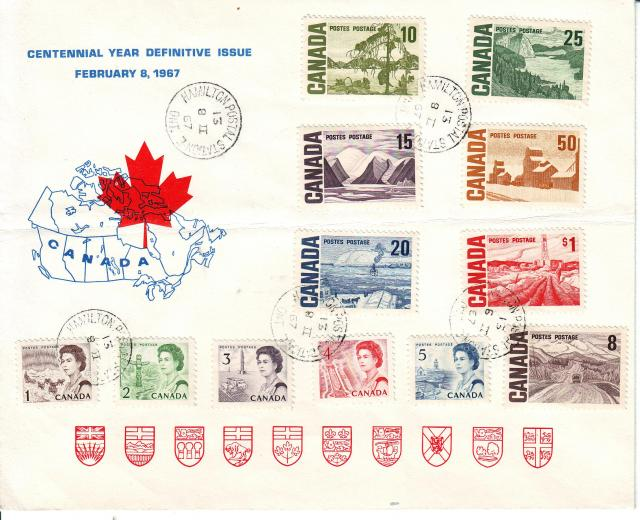 1967 - Personal - Blue with Red Leaf - Large - 10c..1c to 1.00