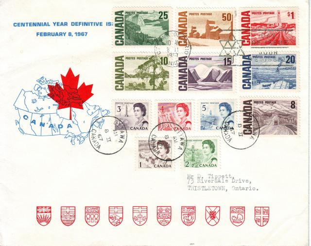 1967 - Personal - Blue with Red Leaf - Large - 25c..1c to 1.00