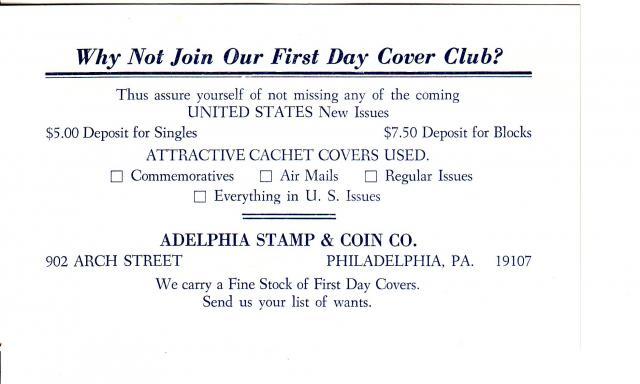 1967 - Adelphia Stamp & Coin Co