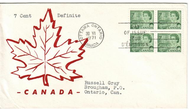1967 - 7c Green - Red Maple Leaf