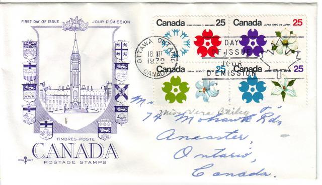 1970 - Expo 70 - Rose Craft - General Purpose - Purple Cachet - Block