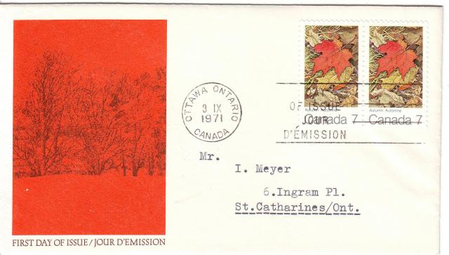 1971 - Maple Leaves - Canada Post - Fall