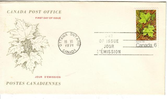 1971 - Maple Leaves - Canada Post - Replacemnet - Summer