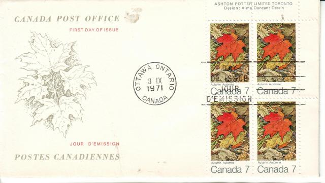 1971 - Maple Leaves - Canada Post - Replacemnet - Fall