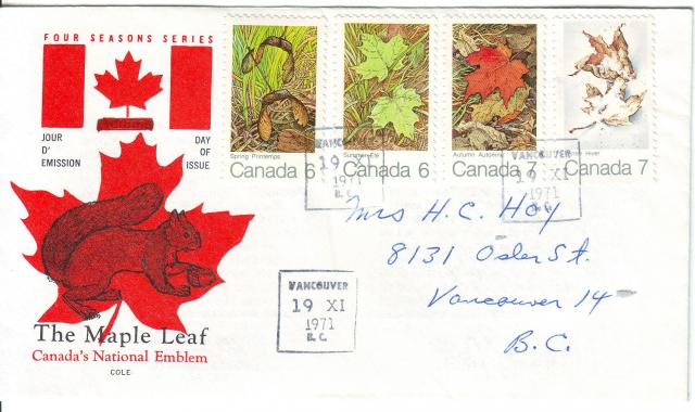 1971 - Maple Leaves - Cole - Comb - 4 Seasons - Vancouver
