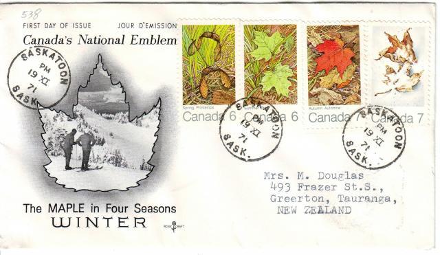 1971 - Maple Leaves - Rose Craft - Comb - 4 Seasons  - Saskatoon