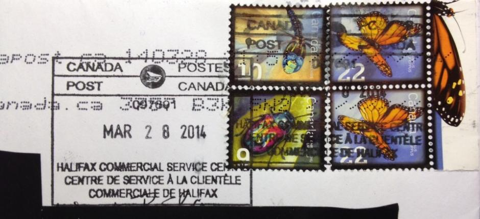 """ERD of Canada's """"make-up"""" $.22 cent postage (Butterfly) stamp on cover"""