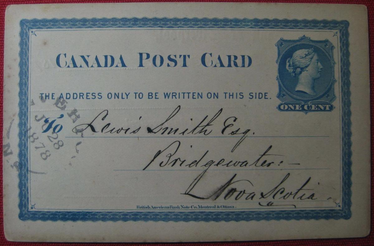 Detail: Fig.1(a): Bank of Liverpool // Bridgwater, NS recipient [circa. 28.06.1878]