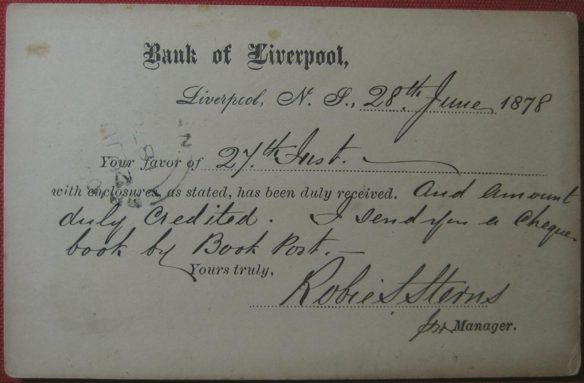 Detail: Fig.1(e): Bank of Liverpool // Bridgwater, NS recipient [circa. 28.06.1878]
