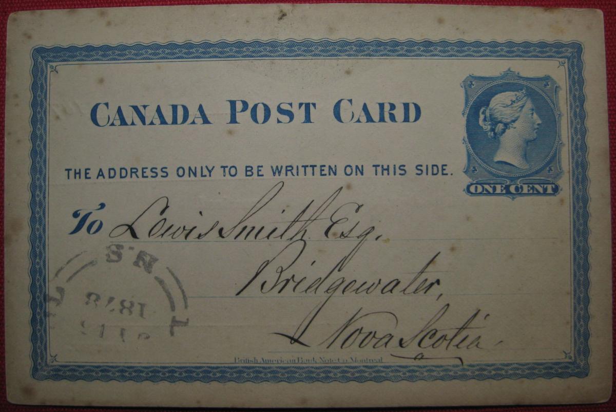 Fig.2: Bank of Liverpool // Bridgwater, NS recipient [circa. 15.07.1878]