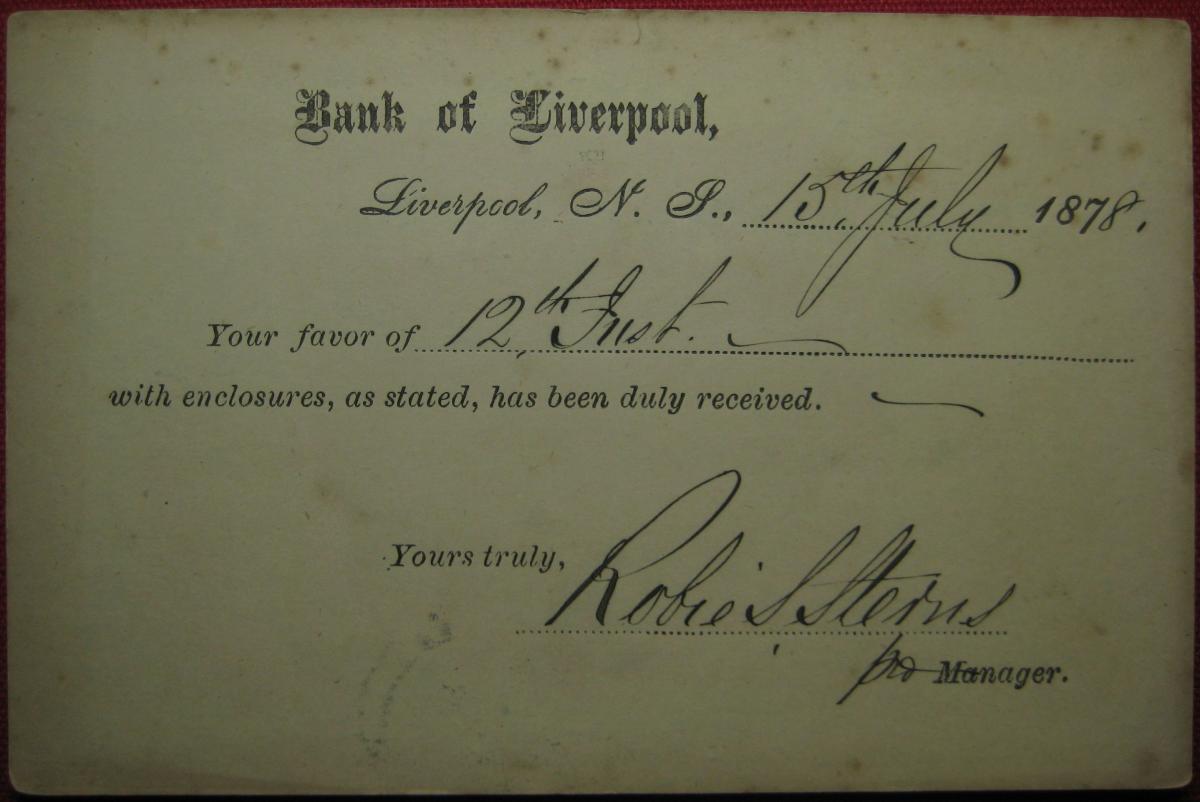 Detail: Fig.2(a): Bank of Liverpool // Bridgwater, NS recipient [circa. 15.07.1878]