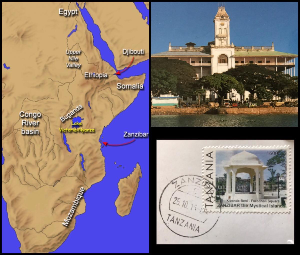 Zanzibar, Tanzania Postcard & Map