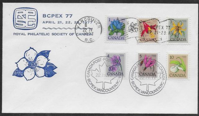 1977 Vancouver BCPEX RPSC 705-711 fdc