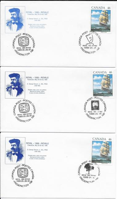 1999 Fredericton Royale blue cachet 1779 non-fdc 3 days cancels