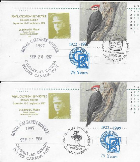 1997 Calgary CALTAPEX Royale EN146c Day 2 & Day 3 cancels