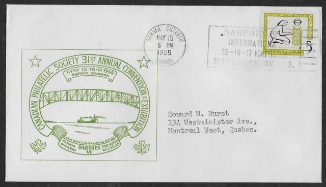 1959 Sarphex CPS 385 green cachet non-fdc