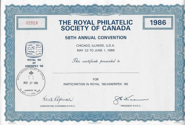 1986 Chicago Ameripex RPSC certificate with cancel