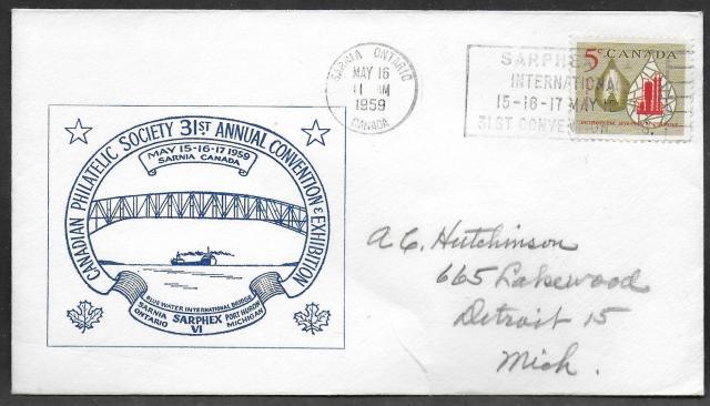 1959 Sarnia CPS 381 blue cachet non-fdc