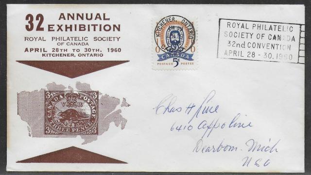 1960 Kitchener RPSC 389 non-fdc