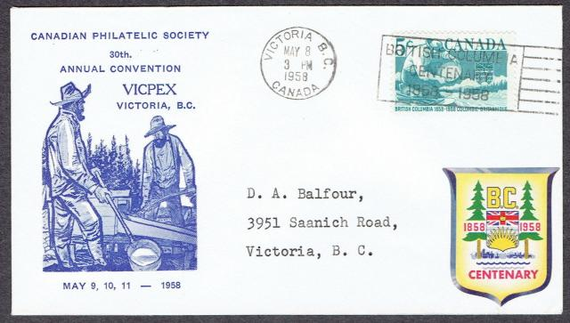 1958 Victoria 377 CPS fdc blue
