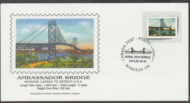 2010 Windsor Royale Ambassador Bridge Picture Postage fdc