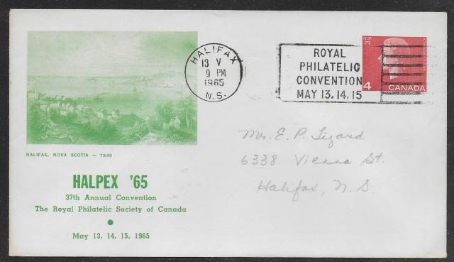 1965 Halifax RPSC U83 Day 1 green cachet cover