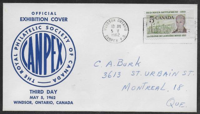 1962 Windsor CANPEX 397 non-fdc blue cachet