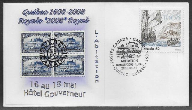 2008 Quebec City Royale L'abitation timbre cachet 2269 fdc