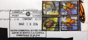 "ERD use of Canada's ""make-up"" $0.22 cent postage (Butterfly) stamp in existence on cover"